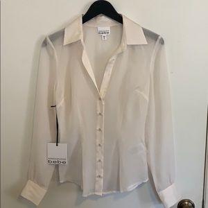 NWT! Bebe x KARDASHIANS Sheer Button Up Shirt